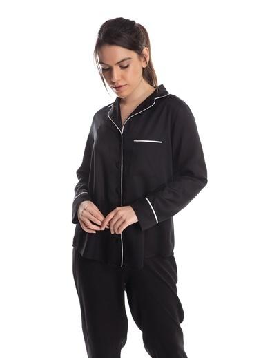 Pamuk & Pamuk Kadın Siyah Viskon Biyeli Önden Düğmeli Pijama Renkli